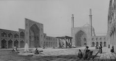 The Jama mosque of Isfahan, Iran (drawing by Pascal Coste , built Persian Architecture, Art And Architecture, Monuments, Pascal Coste, Ancient Persian, Mosque, Giclee Print, Taj Mahal, Louvre