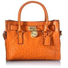 Michael Kors Hamilton Ostrich-Stamped Leather Satchel Handbag