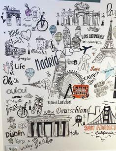 Children and Youth – Mural Scribble – Mapas antiguos – Graffiti World Graffiti Murals, Wall Murals, Wall Art, Doodle Wall, Travel Crafts, Wall Painting Decor, Wall Decor Design, Wall Drawing, Travel Wall