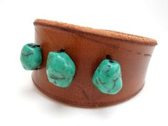 Leather Cuff Bracelet  Teal Beads by MishaGirl on Etsy, $35.00