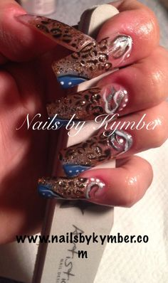 Free hand insane creative nail art with Asian undertones.  Completely created in Artistic Nail Design products from the acrylic to the dots and lines.  #artisticnaildesign #nailsbykymber #nailsalonleominster #lgmodasalon #fantasynailart #nailart
