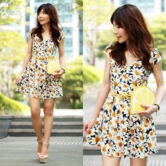 Choies Daisies Print Dress, Monki Lemon Clutch Bag