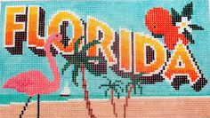 Florida Postcard Hand Painted Needlepoint Canvas #Handpainted