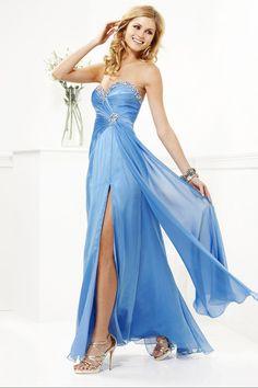 2014 High Slit Beaded Sweetheart Neckline Ruffled Prom Dress Floor Length Chiffon