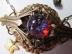 Vintage Dragon's Breath Mexican Opal in Antiqued by NouveauDreams, $59.00