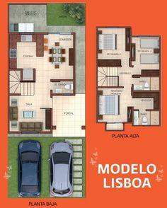 Resultado de imagen para plantas arquitectonicas en terreno 6 x 16 Two Storey House Plans, 2 Storey House Design, Duplex House Plans, Small House Design, Dream House Plans, Modern House Plans, Small House Plans, House Floor Plans, Independent House