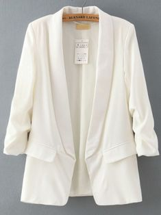White Lapel Long Sleeve Fitted Blazer -SheIn(abaday)