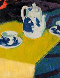 Francis Campbell Boileau Cadell – - Blue and White China Cafe Art, English Artists, Blue And White China, China Art, Tea Art, Mellow Yellow, Colour Yellow, Painting Still Life, Black And White Drawing