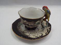 Japan Moriage Raised Dragon Miniature Tea Cup & Saucer w/ Parrot Handle