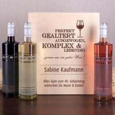 Weinset aus drei Flaschen Wein in edler Geschenkbox mit Personalisierung