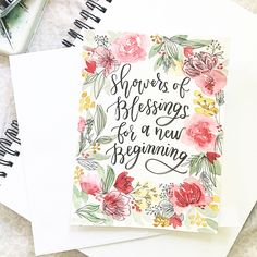 A cute wedding commission for a bride-to-be! .  .  #moderncalligraphy #botanical #handmadefont #handletter #watercolorpainting #watercolor #flowers #wreath #nature #botanical #red #wedding #card #commission #art #doodle #letter #pretty #quote #couple #love #watercolor