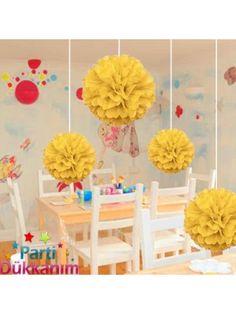 Sarı PonPon Süs (30 cm)