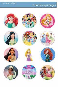 Free Bottle Cap Images: Disney Princess free digital bottle cap images