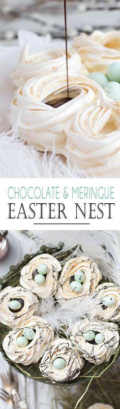 Chocolate Meringue Easter Nests with Marzipan Miniture Eggs. The perfect and easy easter dessert | Schokoladen Baiser Nester mit Marzipan Mini Eiern. Das perfekte und einfach Dessert für Ostern