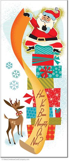 Santas List Christmas Cards  Santas List Christmas Cards, which list are you on? This illustrated card shows Santas tall order of deciding if we have been naughty or nice. A classic vintage style of illustration adds charm to these retro Christmas cards. Reminiscent of the illustrations and animations of the 1950s and 1960s.  8 cards & envelopes $13.00 | Folded Card Size 4.0″x 9.25″  $13.00