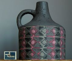 RETRO LARGE Vintage 60-70 s CARSTENS 230 Grey Pink Fat Lava Vase German Pottery