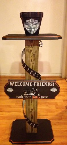 Harley Davidson Ashtray Stand that I made for my cousin's new house!!!