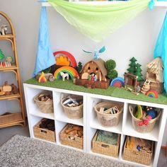 I get lots of questions re: storage in our playroom 🤗 The top row of baskets . - Steiner , I get lots of questions re: storage in our playroom 🤗 The top row of baskets . I get lots of questions re: storage in our playroom 🤗 The top row of . Diy Toy Storage, Storage Spaces, Book Storage, Storage Ideas, Wall Storage, Storage Solutions, Large Toy Storage, Storage Design, Trofast Ikea