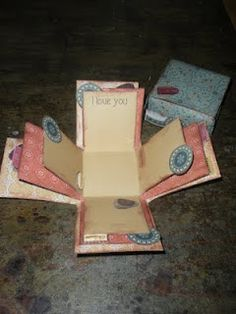 A scrapbook that is a paper box. Great idea for Father's Day! So cute on the coffee table!