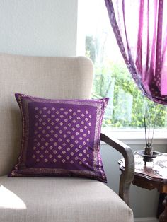 Mystic Amethyst ~ Sari Print Plum Purple & Gold Colored PILLOW: Mysterious purple and lustrous gold combine together to create a print rich in texture and depth, like a sparkling jewel in the bedroom. Throw pillows are the quickest way to change the look of your bedding. Place them over pillow shams or toss on the bed for an extra dose of color. They are also a perfect way for you to express your unique decorating style.