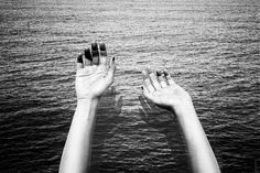 Oh, the sea. #bw #photography #ocean #hands