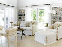 Living Room: 6 panels of Ikea Merete White Grommet Drapes.  Hang them as high as possible.