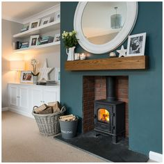 Alcove Ideas Living Room, Feature Wall Living Room, Living Room Green, New Living Room, Cosy Living Rooms, Blue Feature Wall, Fireplace Feature Wall, Log Burner Living Room, Living Room Decor Fireplace