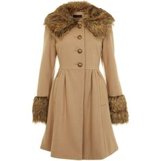 Camel Faux Fur Trim Frock Coat (5,360 INR) ❤ liked on Polyvore featuring outerwear, coats, jackets, kaputi, fur, women, faux fur trim coats, camel fur coat, miss selfridge coats and camel coat