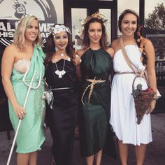 Group Halloween costume idea: Greek goddesses. Amphitrite, goddess of the sea  Asteria, goddess of the stars Demeter, goddess of harvest and  Artemis, Goddess of hunt