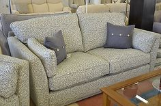 Linear 2 Piece Suite Blue Leaf Patterned Fabric 3 Seater Sofa + Armchair G Plan