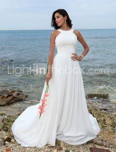 Love this !!flowy chiffon satin wedding dress with straps