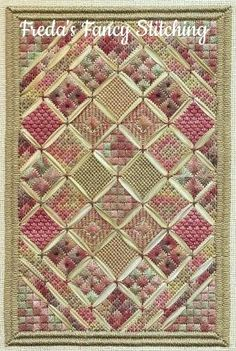 Freda's Fancy Stitching My Grandma's Quilt - Needlepoint Pattern. Model stitched on 28 Ct. Lambswool Jobelan using Gloriana, Caron Waterlilies, Classic Colorwor Needlepoint Designs, Needlepoint Stitches, Needlepoint Canvases, Needlework, Hardanger Embroidery, Embroidery Applique, Cross Stitch Embroidery, Cross Stitch Patterns, Broderie Bargello