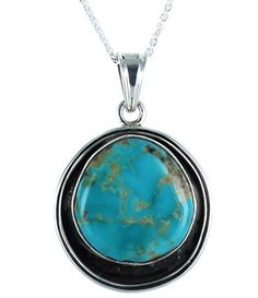 BLUE BIRD TURQUOISE STERLING PENDANT NECKLACE 16""