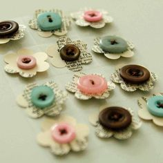 vintage mix flower buttons