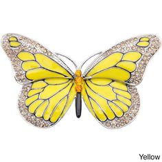 Adorn your ensemble with this stunning butterfly pin encrusted with brown Swarovski crystals and striking yellow enamel. The antique finish around the borders adds to its classic look, and the pin closure makes it easy to attach to your jacket or top.