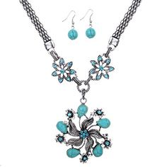 Yazilind Tibetan Silver Turquoise Crystal Flower Pendant Necklace and Earrings Jewelry Set for Women Yazilind http://www.amazon.com/dp/B00M9R5DEK/ref=cm_sw_r_pi_dp_CIEuub0527HSG
