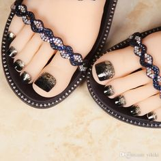 False Toe Nail for Women and Girls Golden Black Glitter Decorated Full Cover Press On Fake Toenails with Glue Golden Glitter, Black Glitter, Fake Toenails, Eyeliner, Manicure And Pedicure, Toe Nails, Chanel Ballet Flats, Womens Fashion, Fashion Trends