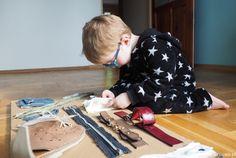 pomoce edukacyjne, tablica Montessori, pomoce Montessori, diy, recykling, zabawa, edukacja, nauka zapinania, czynności praktyczne.
