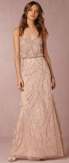 Beautifully embellished blush gown >> bhldn