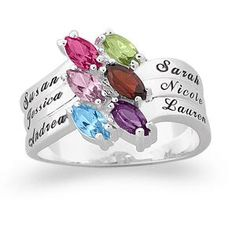Whtie Gold Family Ring with up to 7 Names and Birthstones