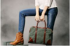Unisex Superior Genuine Cow Leather Canvas Bag / Tote Bag / Briefcase Bag / Canvas Bag / Laptop Bag / DSLR Camera Bag in Green on Etsy, $45.00