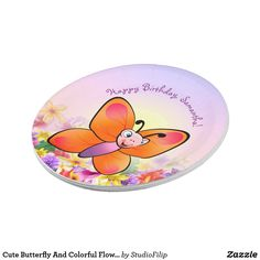 Cute Butterfly And Colorful Flowers Paper Plate