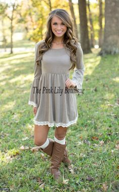 The Pink Lily Boutique - Just The Sweetest Dress Taupe, $42.00 (http://thepinklilyboutique.com/just-the-sweetest-dress-taupe/)