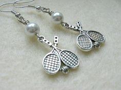 Sports chic for women!  Tennis Racket Dangle Earrings by SportsJewelryStudio on Etsy