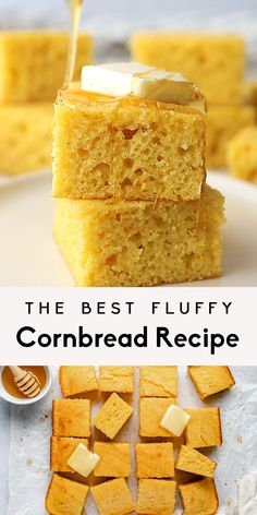The best cornbread recipe ever! This fluffy, moist cornbread is easy to make in just 30 minutes with under 10 ingredients. It has the perfect amount of sweetness thanks to honey and will be your new go-to side dish for any meal. You'll never need another homemade cornbread recipe after this one! #cornbread #baking #sidedish #snack