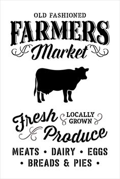 Old Fashioned Farmers Market Stencil By Fresh image 2 Word Stencils, Stencils For Wood Signs, Stencil Wood, Stencil Templates, Farmers Market Sign, Lokal, Stencil Painting, Stenciling, Painting On Wood