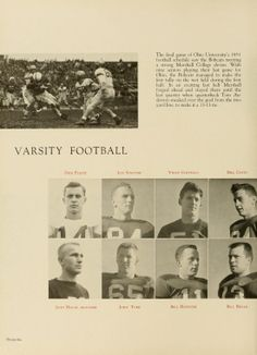 Vince Costello, third on top line of portraits, became an NFL Linebacker after graduating in 1953. He played for the Cleveland Browns (1956-1966) and the New York Giants (1967-1968). Athena yearbook, 1952.