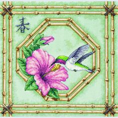 Humming Bird and Bamboo - Dimensions counted cross stitch kit