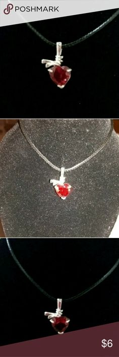 S80 Ruby Heart Cut Pendant New without tag S80 silver red ruby heart cut gemstone pendant  Size: Approximately 8mm  *I don't trade,  sorry!* Jewelry Necklaces