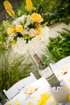 Wine Bottle Floral -- This is a cool look. Wine Bottle Centerpieces, Flower Centerpieces, Engagement Party Centerpieces, Wedding Decorations, Floral Wedding, Wedding Flowers, Our Wedding, Wedding Ideas, Wedding Stuff